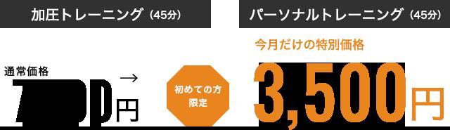 加圧トレーニング・パーソナルトレーニング、初めての方限定・今月だけの特別価格3000円
